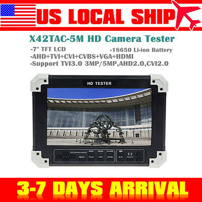 "E001 7"" LCD Monitor HD-TVI+CVI+AHD+HDMI+VGA+CVBS Camera Security CCTV Tester"