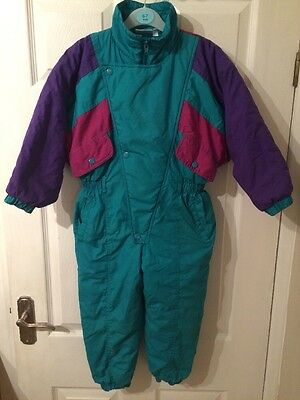 Girls Padded Snow Suit Green Pink Purple Age 4 Years