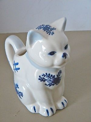 Jsny Ceramic Cat Creamer Pitcher White With Blue Flowers