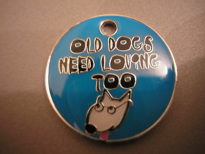 Personalised Engraved Comical Pet Id Tag - Old Dogs Free P&p & Engraving