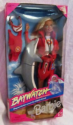 BAY WATCH Lifguard BARBIE Doll w Dolphin 1994 Mattel In Box NEW!