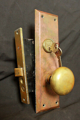Antique Vintage Arts Crafts Brass Door Entry Exterior Lockset Plate Lock Set Key