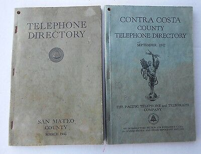 Pacific Bell Directories San Mateo and Contra Costa Counties California 1933-42