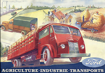 ancienne brochure, prospectuse ford camion transports routiers industri à poissy