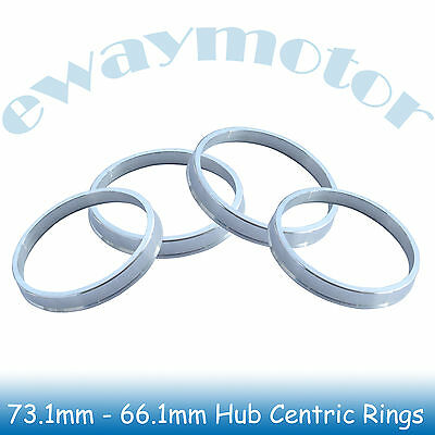 4PC Alloy Aluminum Wheel Spigot Spacers Hub Centric Rings 73.1mm OD to 66.1mm ID