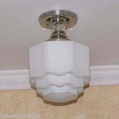961 Vintage 30's Ceiling Light Lamp Fixture Glass bath hall porch Re-Wired