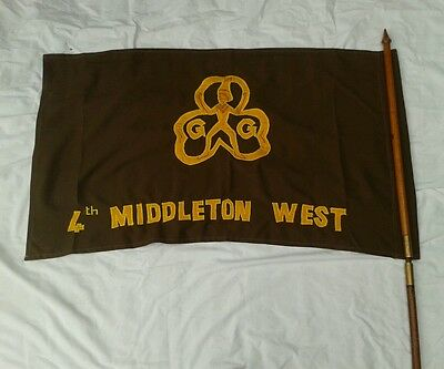Brownie Girl Guide Flag with Wooden Pole with Brass Screw Couplings Baden Powell