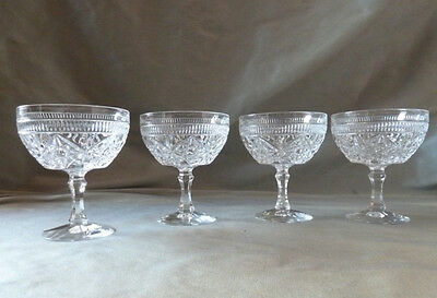 4 vintage crystal champagne glasses, heavy, not signed, VGC
