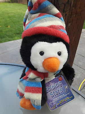 Russ Berrie SHINING STARS PENGUIN 9in Plush With Sealed Code & Hang Tag NEW