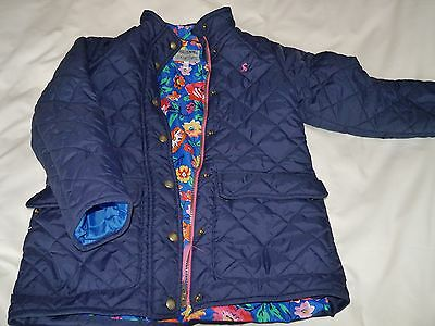 Girls JOULES Navy Quilted Warm Coat Jacket bright floral Lining Age 9-10 Years