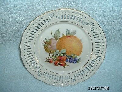 7-7/8 Inch Porzellan Imperial Germany 78 Plate-Fruit In Center, Orange