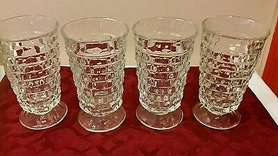 Whitehall Indiana Colony Crystal Clear Iced Tea Tumblers Glasses, Lot of 4
