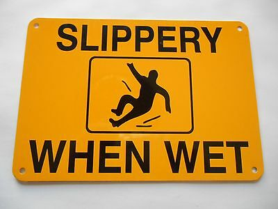 Slippery When Wet Black and Yellow Metal Caution Sign New