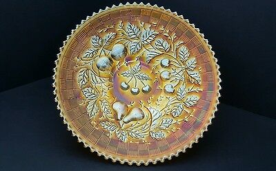 Carnival Glass Northwood Three Fruits Marigold BasketWeave Ext. Sawtooth Plate