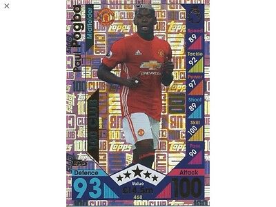 Match Attax 16/17 PAUL POGBA 100 Club Card 10th Anniversary Collection