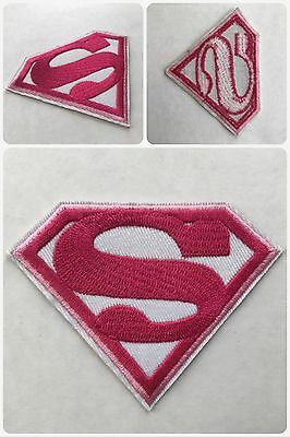 Superman SuperGirl Pink Movie Embroider DIY Sew/ Iron-On Morale Patch (x2)