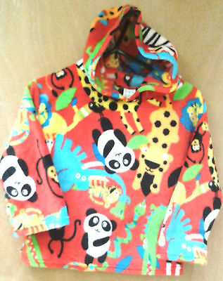Childrens Fleece Hoodie Tops  Red Jungle
