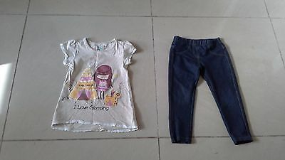 Lovely little girls top and leggings from TU and Next age 4 - 5 years
