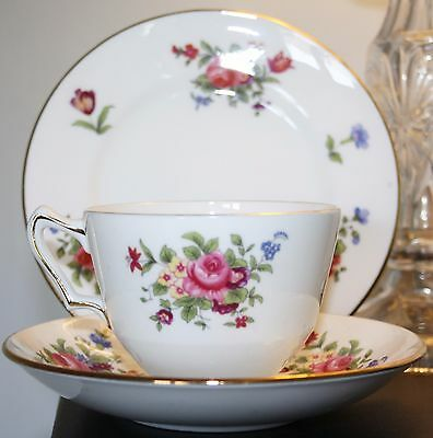 "Crown Staffordshire Fine Bone China Trio ""Roses""  Tea Cup, Saucer & Side Plate"