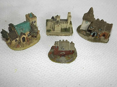 4 Small Churches With Towers Hand Painted Ceramic ? Models