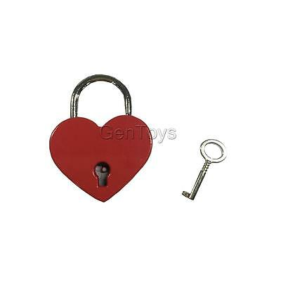 Retro Dark Red Metal Padlock Heart Shaped with Key Set Home Travel Accessory