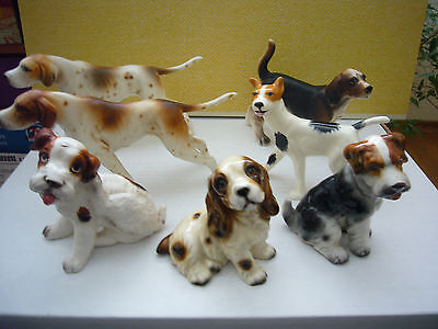 Lot of 7 Porcelain Ceramic Dog Figurines Lefton Miyako's Terriers Pointers ....