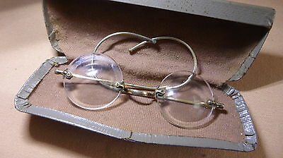 Vintage antique pair of 'coke bottle' lens spectacles in case