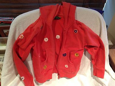 Girls Oilily Zipped Hooded Jacket Coat Orange Floral Age 7-8 Years