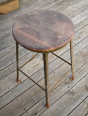 ANTIQUE VINTAGE OLD STOOL WOOD SEAT METAL LEGS With SOME RUST - LOCAL PICK UP