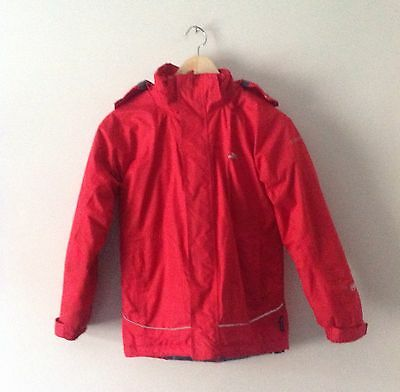 Trespass Red Unisex Waterproof/Windproof Jacket Coat With Hood Age 9-10 Years