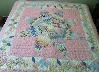 "Vtg Antique Handmade Early 1900's Lone Star of Texas Patchwork Quilt 80"" X 78"""