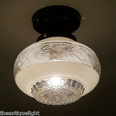 764 Vintage 30s 40s Ceiling Light Lamp Fixture Glass Re-Wired Kitchen Hall Porch