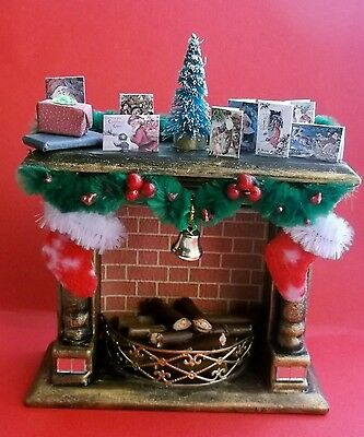 1/12th Dollhouse Miniature OOAK Christmas Decorated Fireplace (Style 2)