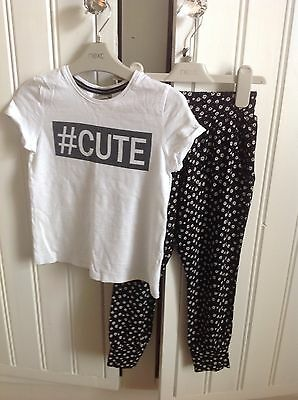 Girls next black and white t shirt and traveller trousers outfit/ Bundle age 5