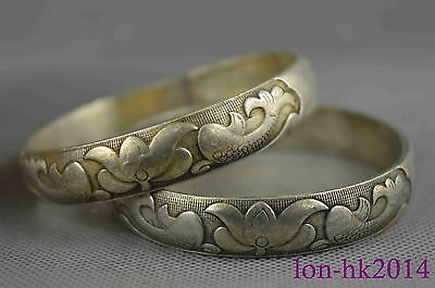 china collectible handwork old miao silver carve swimm lotus fish lucky bracelet