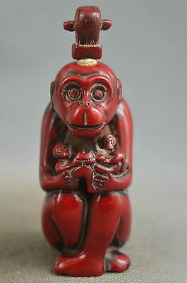 china collectible handwork old coral carve humor monkey auspicious snuff bottle
