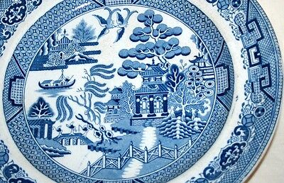 Antique Blue & White Willow Pattern Plate, TW/T Wolfe?/Early Adams Stone China