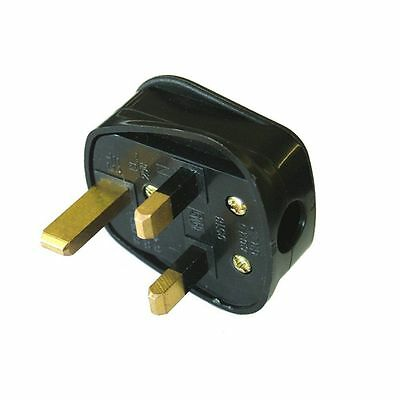 Uk 13A Black Mains Plug 13 Amp 3 Pin Appliance Fuse Power Adaptor