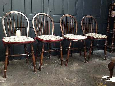 Set Of 4 Vintage Farmhouse Style Dining Chairs With Cushions