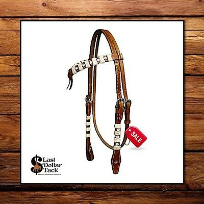 Reduced!! Futurity Knot Western Headstall & Reins With Rawhide Braid & Crystals