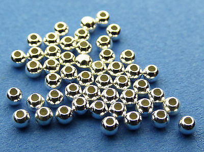 2mm 925 Sterling Silver Round Seamless Spacer Beads 50pcs.