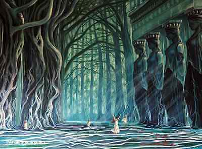 """Repro Oil Painting Canvas """"The Pilgrimage Of The Trees"""" By Angel Kourkoulou"""