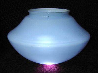 Vintage Large Blue Glass Ceiling Light Schoolhouse Shade