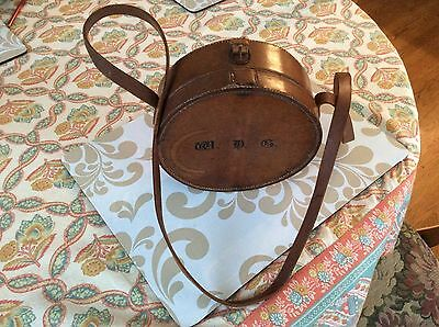 "ANTIQUE 1880s W.D.G.monogram Round Leather Carrying Case with Strap 7.5"" x 3"""