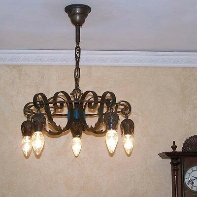 930 Vintage 20s 30s Ceiling Light lamp fixture spanish revival chandelier