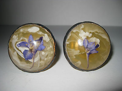 2 Vintage DOMED FLOWER ROSETTES Brass Trim ~ Real Flower Hand Crafted Knob Pulls