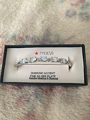 Macy's Amethyst And Diamond Silver Plated Bangle