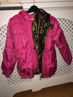 Girls pink RIVER ISLAND Quilted Reversible Hooded Coat aged 10 yrs