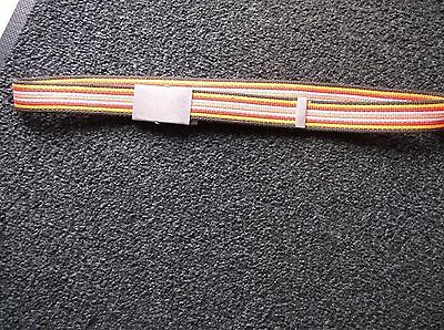 BRAND NEW CANVAS MULTI STRIPE ORANGE BROWN RED PINK BELT.with silver fastener .