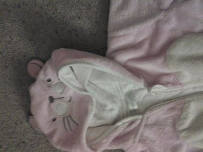 Baby Girls Soft Fleecey Pink Hooded Onesie. Early Days. Age 0-3 Months.